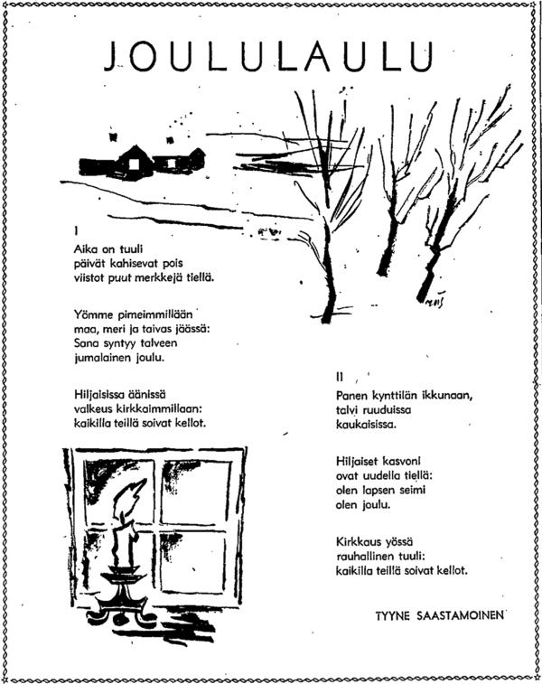 Tyyne Saastamoinen: Joululaulu - HS 24.12.1960