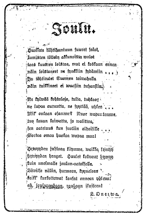 L. Onerva: Joulu - HS 23.12.1917