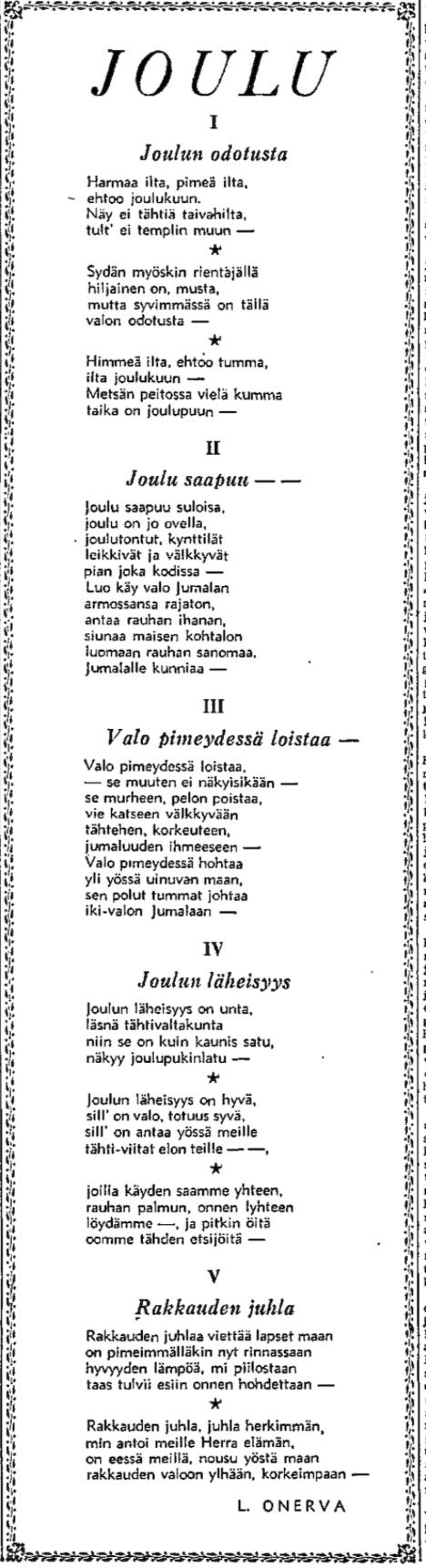 L. Onerva: Joulu - HS 24.12.1950